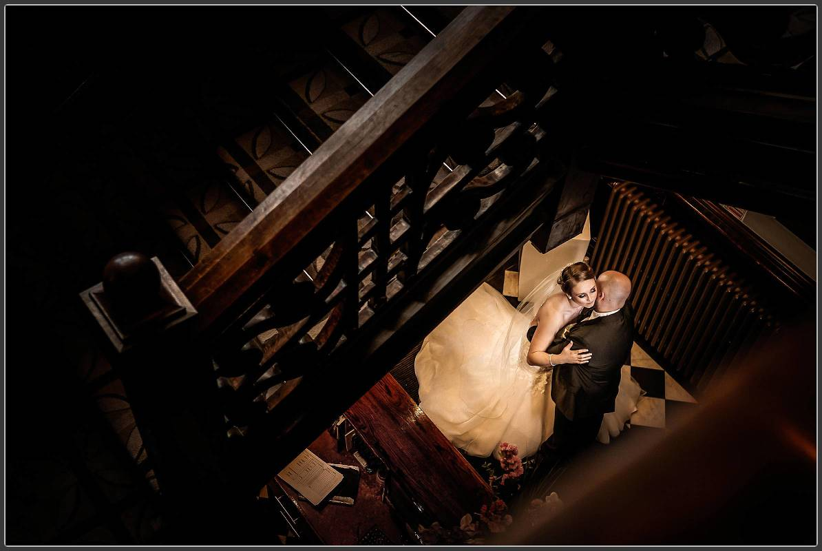 An overhead photo of the bride and groom at Moxhull Hall Hotel