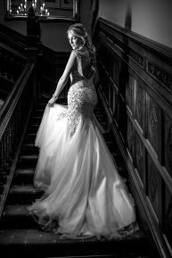 The bride on the stairs at the Manor By The Lake