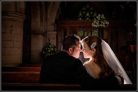Bride and groom together in the church