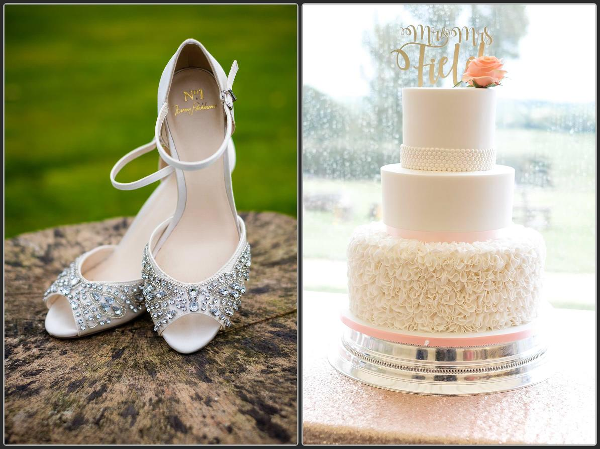 Wedding shoes and cake